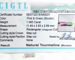 Certified|CIGTL| ~1.085 Cts Museum Grade Bi color Tourmaline Gem