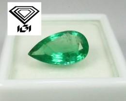 NO RESERVE - IGI Certified Fine 2.98 CT Intense Green Emerald Zambia $4900