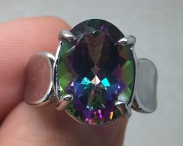 (B4) Gorgeous Cert. $1100 Nat 7.23ct Mystic Topaz Ring 10K WG 5.97gr