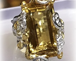 Solitaire Citrine Ring Size 7.5 .925 Sterling Silver with 14kt Gold