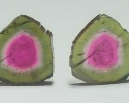 7.20 carats pairs  perfectly shaped Watermelon Tourmaline polished Slices