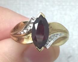 (B) Superb Nat 0.90ct Red Garnet And Diamond Ring 10K YG 2.5gr