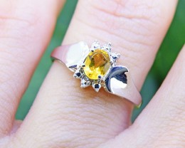N/R Natural Citrine 925 Sterling Silver Ring Size 5 (SSR0410)