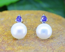 N/R Pearl & Iolite Natural  925 Sterling Silver Earrings (SSE0423)