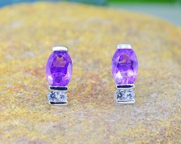 N/R Amethyst Natural  925 Sterling Silver Earrings (SSE0422)