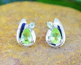 N/R Peridot Natural  925 Sterling Silver Earrings (SSE0421)