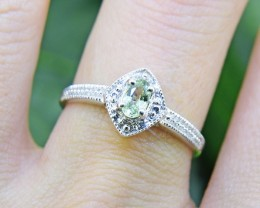 N/R Natural Green Sapphire 925 Sterling Silver Ring Size 6 (SSR0413)