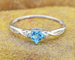 N/R Natural Blue Topaz 925 Sterling Silver Ring Size 10 (SSR0416)