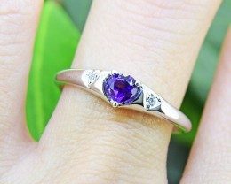 N/R Amethyst Natural 925 Sterling Silver Ring Size 8 (SSR0424)