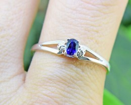N/R Blue Sapphire Natural 925 Sterling Silver Ring Size 8 (SSR0418)