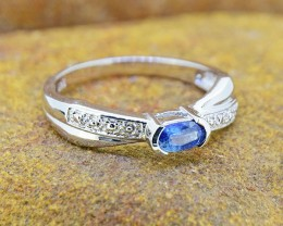 N/R Natural Blue Sapphire 925 Sterling Silver Ring Size 6 (SSR0415)