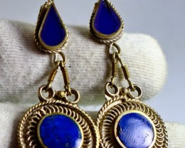 37.50 CT Natural lapis lazuli Carved earrings Special Shape