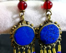 52 CT Natural lapis lazuli Carved earrings Special Shape