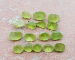 Natural Peridot Preform Only For learning Faceting 16 pieces