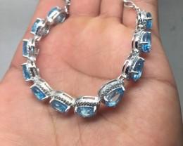 (B4) Dazzling Nat. 70.5tcw Swiss Blue Topaz & CZ Bracelet