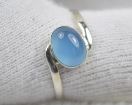 NATURAL UNTREATED AQUA CHALCEDONY RING 925 STERLING SILVER JE502