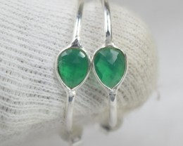 NATURAL UNTREATED GREEN ONYX EARRINGS 925 STERLING SILVER JE504
