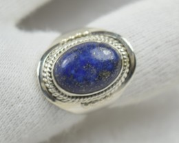 NATURAL UNTREATED LAPIS LAZULI RING 925 STERLING SILVER JE506