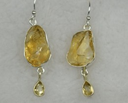 NATURAL UNTREATED ROUGH CITRINE EARRINGS 925 STERLING SILVER JE508
