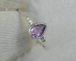 NATURAL UNTREATED AMETHYST RING 925 STERLING SILVER JE509