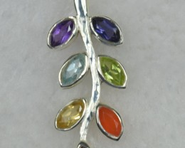 NATURAL UNTREATED CHAKRA PENDANT 925 STERLING SILVER JE511