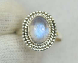 NATURAL UNTREATED RAINBOW MOONSTONE RING 925 STERLING SILVER JE513