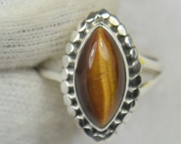 NATURAL UNTREATED TIGER EYE RING 925 STERLING SILVER JE531