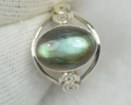 NATURAL UNTREATED LABRADORITE RING 925 STERLING SILVER JE535