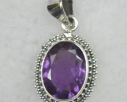 NATURAL UNTREATED AMETHYST PENDANT 925 STERLING SILVER JE536