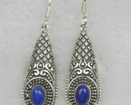 NATURAL UNTREATED LAPIS LAZULI EARRINGS 925 STERLING SILVER JE537