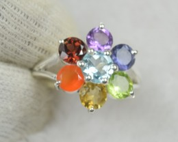 NATURAL UNTREATED CHAKRA RING 925 STERLING SILVER JE538