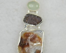 NATURAL UNTREATED JASPER PENDANT 925 STERLING SILVER JE539