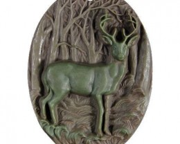 Beautiful Deer Cameo - Focal Pendant worked in Ribbon Jasper - drilled to b