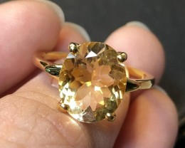 16.04ct Yellow Citrine 925 Sterling Silver Ring US 8.5