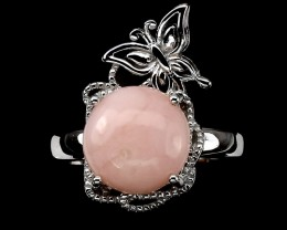 25.79ct Pink Opal 925 Sterling Silver Ring US 8