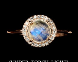 13.06ct Moonstone 925 Sterling Silver Ring US 8