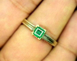 Stunning 1 cts Rare ~ Swat Emerald in 18 k Gold + Silver Ring ~ 1200 usd