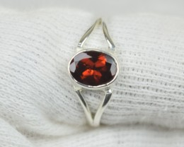 NATURAL UNTREATED GARNET  RING 925 STERLING SILVER JE548