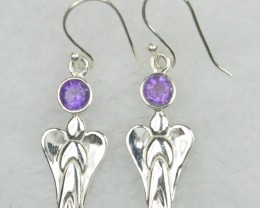 NATURAL UNTREATED AMETHYST EARRINGS 925 STERLING SILVER JE549