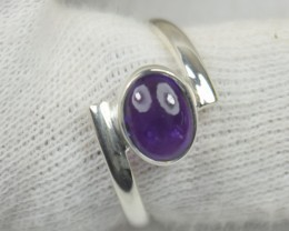NATURAL UNTREATED AMETHYST RING 925 STERLING SILVER JE550