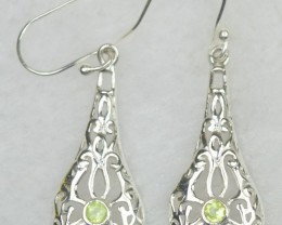 NATURAL UNTREATED PERIDOT  EARRINGS 925 STERLING SILVER JE551