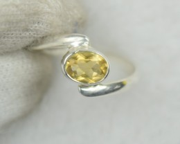 NATURAL UNTREATED CITRINE RING 925 STERLING SILVER JE552