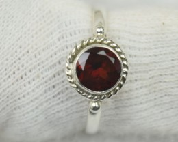 NATURAL UNTREATED GARNET  RING 925 STERLING SILVER JE554