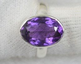 NATURAL UNTREATED AMETHYST RING 925 STERLING SILVER JE556