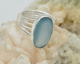 NATURAL UNTREATED CHALCEDONY RING 925 STERLING SILVER JE558