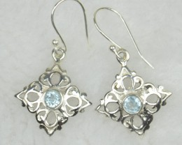 NATURAL UNTREATED BLUE TOPAZ  EARRINGS 925 STERLING SILVER JE559