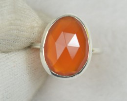 NATURAL UNTREATED CARNELIAN RING 925 STERLING SILVER JE560
