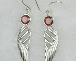 NATURAL UNTREATED GERNET  EARRINGS 925 STERLING SILVER JE563