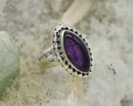 NATURAL UNTREATED AMETHYST RING 925 STERLING SILVER JE564