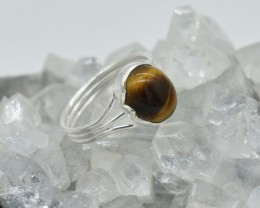 NATURAL UNTREATED TIGER EYE RING 925 STERLING SILVER JE566